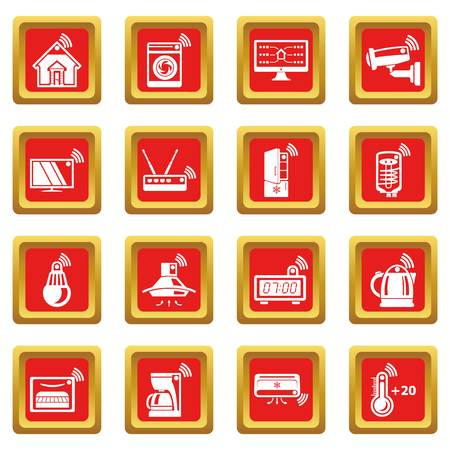Smart home icons set vector red square isolated on white background