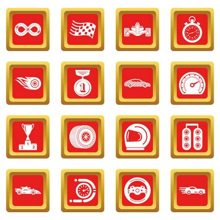 Car race icons set red square vector