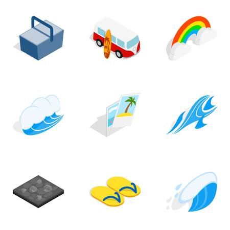 Kind of rest icons set. Isometric set of 9 kind of rest vector icons for web isolated on white background