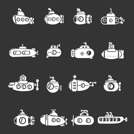 Submarine icons set grey vector