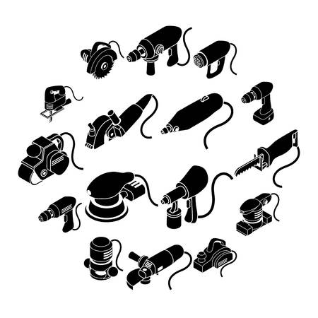 Electric tools icons set, simple isometric style Ilustração