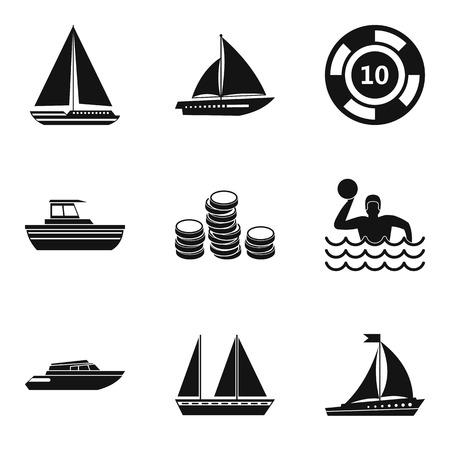 Water sport icons set, simple style Иллюстрация
