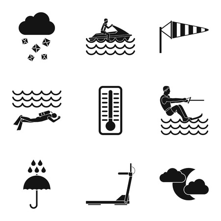 Water load icons set, simple style Иллюстрация