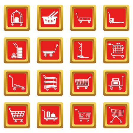 Cart types icons set vector red square isolated on white background