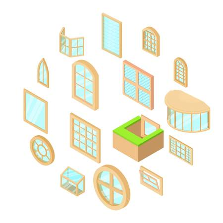 Window forms icons set, isometric style Illustration