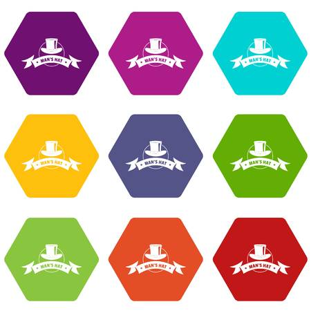 Modern hat icons 9 set coloful isolated on white for web Illustration