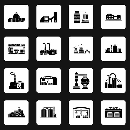 Set of Factory building, production equipment, cranes and warehouses. silhouettes on a white background for any design style Banque d'images - 99237360