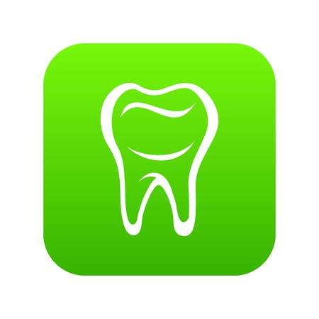 Tooth icon green vector isolated on white background