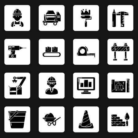 Building process icons set, simple style vector illustration.