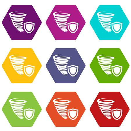 Hurricane protection icons set 9 vector illustration.