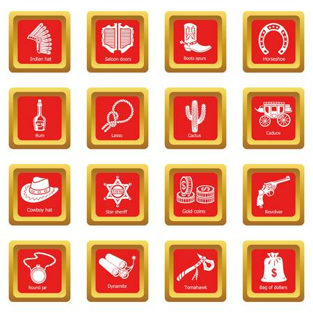 Wild west icons set square vector illustration.