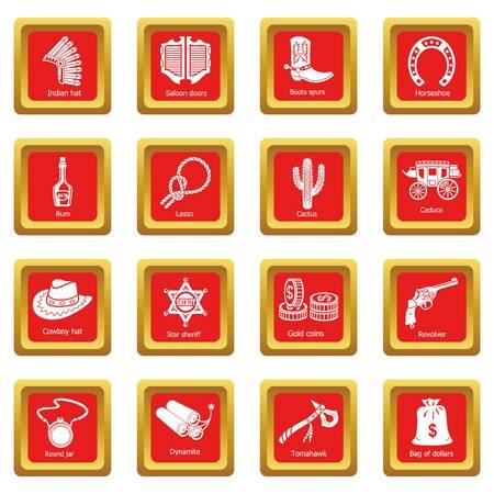 icônes de l & # 39 ; ouest sauvage mis place vector illustration