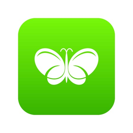 Butterfly icon green vector illustration.