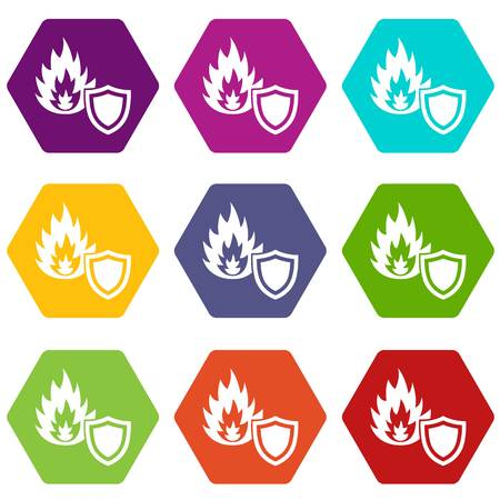 Fire protection icons set 9 vector illustration.