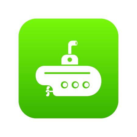 Bathyscaphe with periscope icon green vector illustration.
