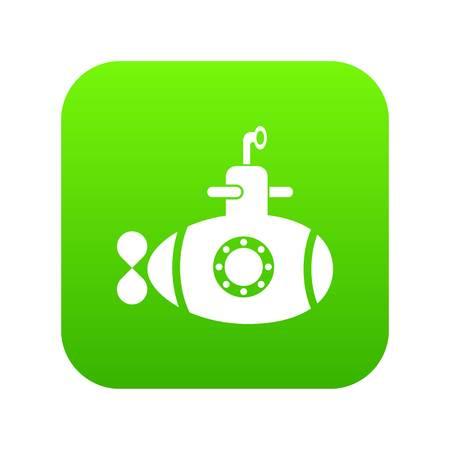Bathyscaphe with hatch icon green vector illustration. Illusztráció