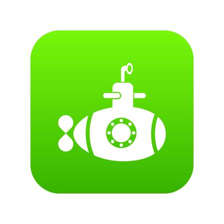 Bathyscaphe with hatch icon green vector illustration. Illustration