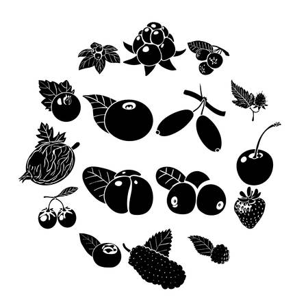 Berries icons set, simple style vector illustration.