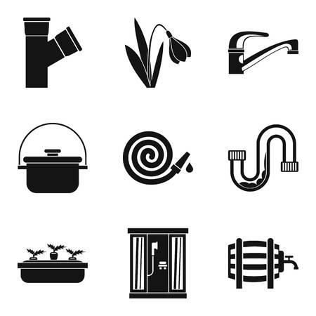 Hydrosystem icons set, simple style 向量圖像