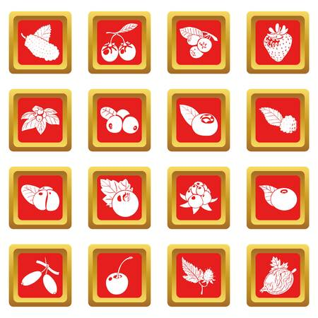 Berries icons set red square vector