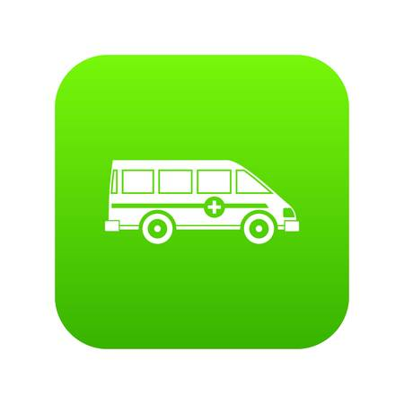 Ambulance emergency van icon digital green