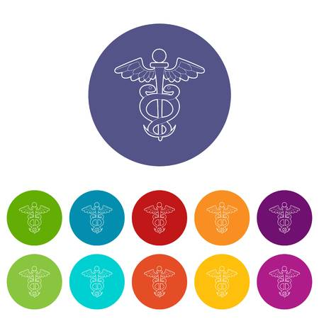 Sign medicine icons set vector color Illustration