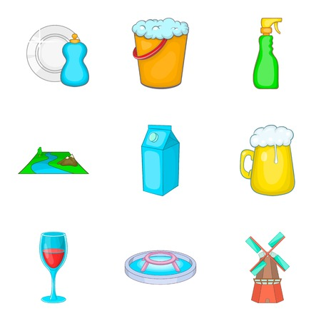 Reservoir storage icons set. Cartoon set of 9 reservoir storage vector icons for web isolated on white background