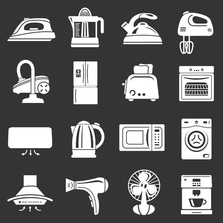 House appliance icons set grey vector Illustration