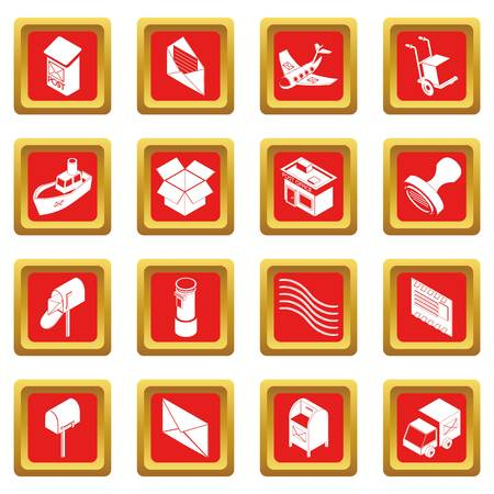 Poste service icons set red square vector