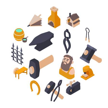 Blacksmith tools icons set. Isometric illustration of 16 Blacksmith tools icons set vector icons for web Illustration