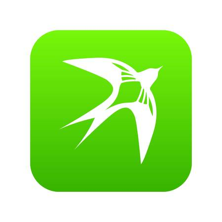 Swallow icon green vector