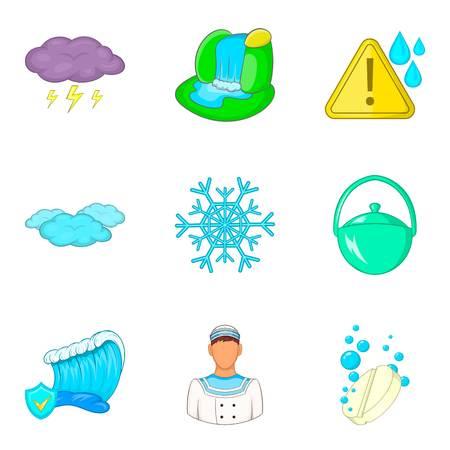 Water reservoir icons set, cartoon style Illustration