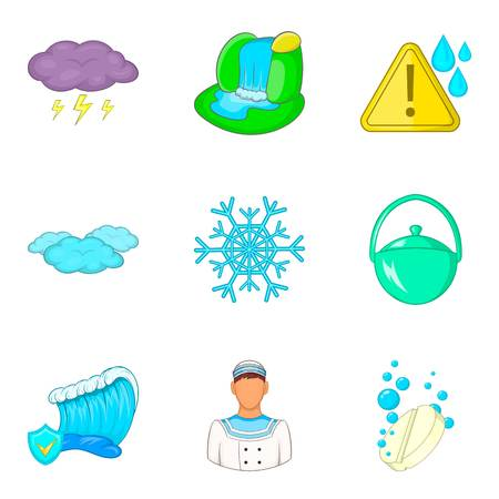 Water reservoir icons set, cartoon style Stock Illustratie