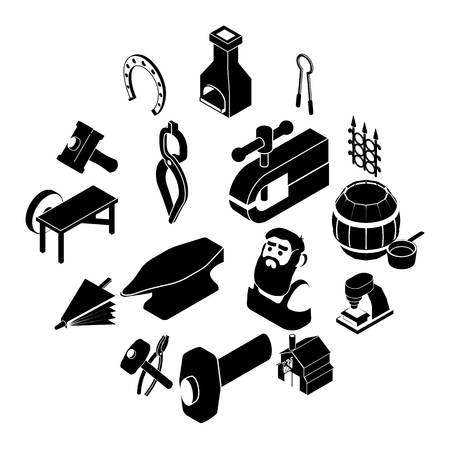 Blacksmith tools icons set, simple style