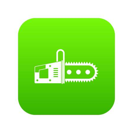 Chainsaw icon digital green for any design isolated on white vector illustration Illustration