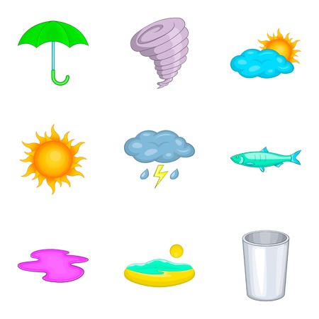 Drainage icons set. Cartoon set of 9 drainage vector icons for web isolated on white background
