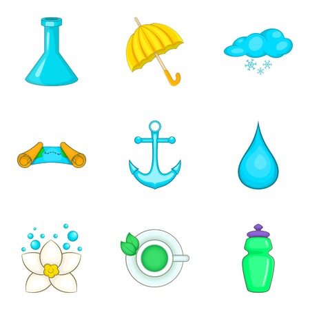 Clean water icons set. Cartoon set of 9 clean water vector icons for web isolated on white background