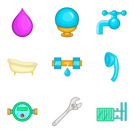 Drinking water icons set, cartoon style