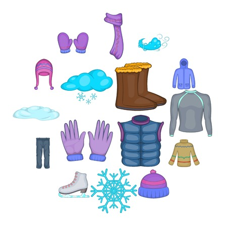 Winter clothes icons set, cartoon style
