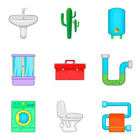 Potable water icons set, cartoon style