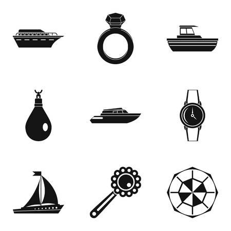 Quantity icons set, simple style