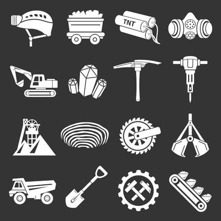 Coal mine icons set grey vector Illustration