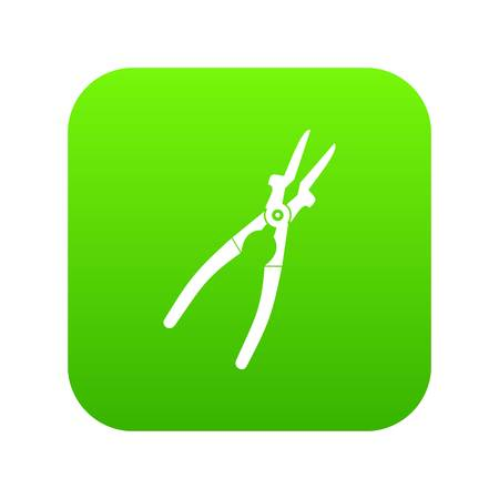 Metal welder pliers icon digital in green square.