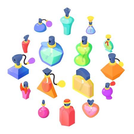 Perfume bottles icons set, isometric style illustration.