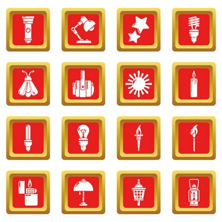 Light source icons set in red square vector illustration. Vettoriali