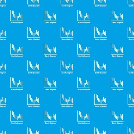 Gantt diagram pattern vector seamless on blue background. Çizim