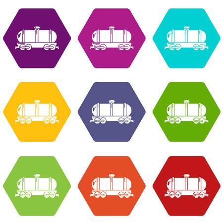 Kesselwagenikonen stellten Vektor in der Mehrfarbenillustration ein. Standard-Bild - 99346766