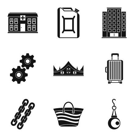 Quantity of money icons set, simple style illustration.