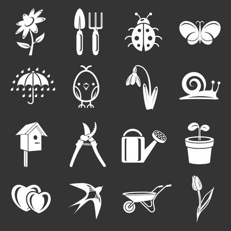 Spring icons set illustration on black background.