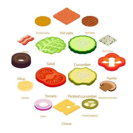 Slice food icons set, isometric style illustration.